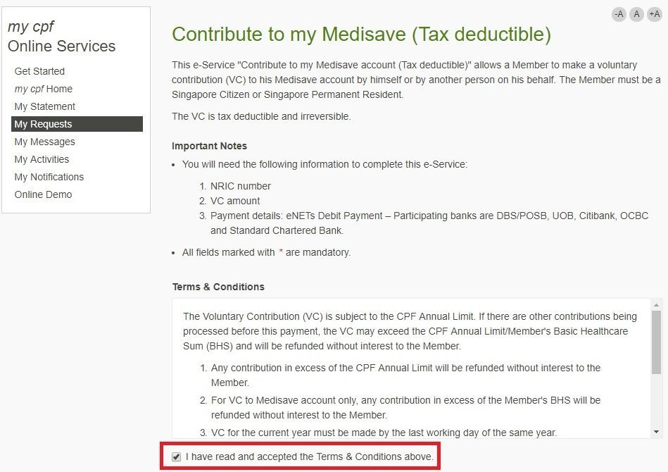 My Sweet Retirement Tops Up Medisave Account Using Cash